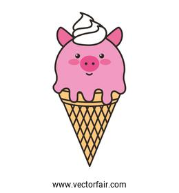 ice cream in cone with face pig