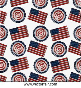 american flag and rosette ornament background