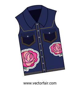 female vest in jean with roses patch