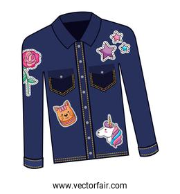 female jacket in jean with set patchs