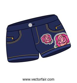 female shorts in jean with roses patch