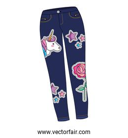 female pants in jean with set patchs