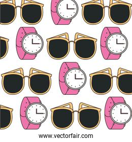watch and sunglasses fashion accessories pattern