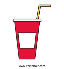 delicious drink in plastic cup with straw