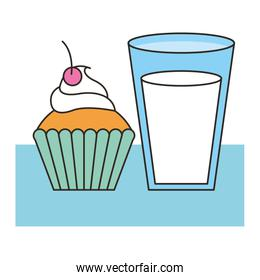 delicious cup cake with milk
