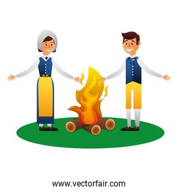 Swedish couple with campfire