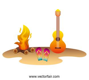 beach with guitar flip flops and campfire