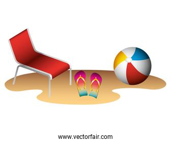 beach ball with flip flops and chair