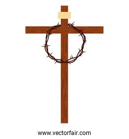isolated cross with crown of thorns