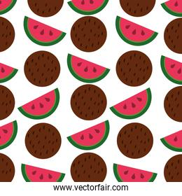 watermelon and coconut fruits pattern