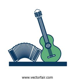 musical instruments accordion and guitar classic