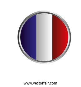 france flag in button with shadow