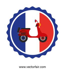 vintage label flag french and red scooter