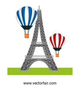 french tower eiffel and hot air balloons flying
