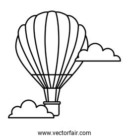 hot air balloon flying in sky clouds