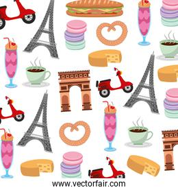 france paris background arch tower eiffel scooter macaroon image