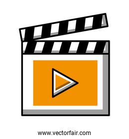 clapper board video player action image over white