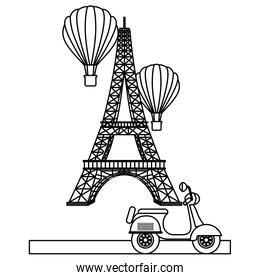 tower eiffel paris scooter and hot air balloons