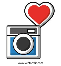 camera photographic with heart