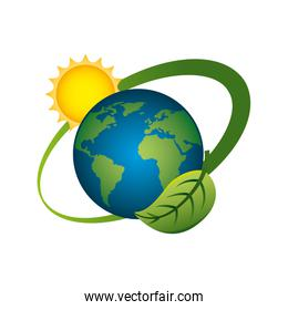 world planet with sun and leaf ecology