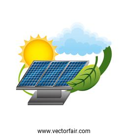 panels solar with leaf and sun ecology energy
