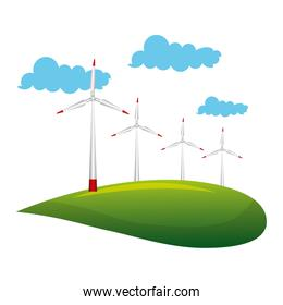 landscape with turbines energy power