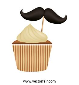delicious and sweet cupcake with mustache
