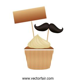 delicious and sweet cupcake with label and mustache