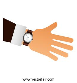 hand with wristwatch masculine isolated icon