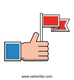 hand with flag marker isolated icon