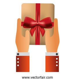 hands with gift box present icon
