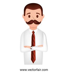 elegant businessman with mustache avatar character