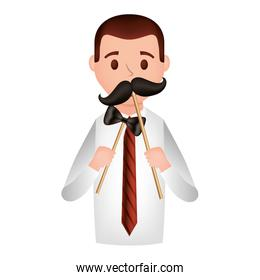 elegant businessman with accessories avatar character