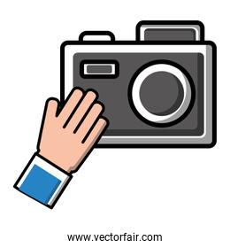 hand with photo camera flash device