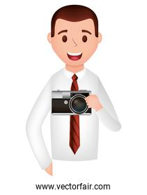 businessman with camera photographic avatar character