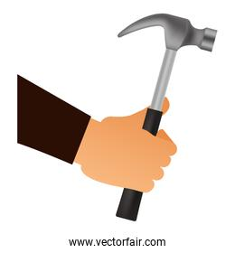 hand with hammer tool