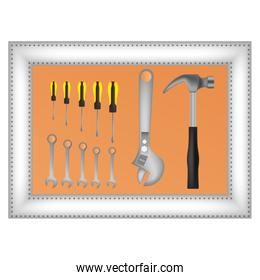 collection of tools construction icon