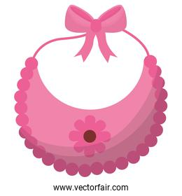 baby shower card with bib pink and flower