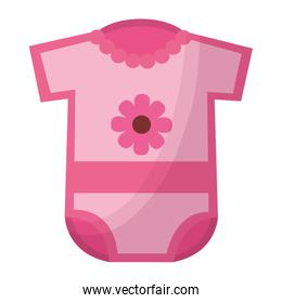 baby shower card with dress pink and flower