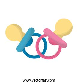 baby shower card with pacifiers pink and blue colors