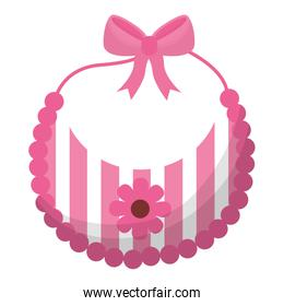 baby shower card with pink bib