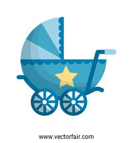 baby cart boy isolated icon