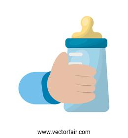 hand with baby milk bottle icon