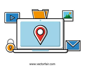 laptop with pointer map social media icons
