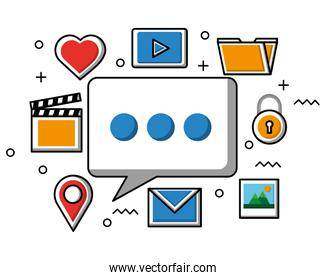 speech bubble social media network icons