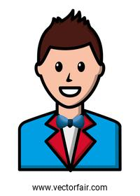 happy man character elegant wit suit and bowtie