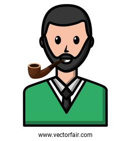 portrait bearded man with smoking pipe