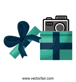 opened gift box with photo camera inside surprise