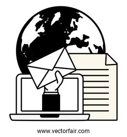 hand with envelope world laptop send email