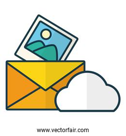 isolated cloud computing send email picture